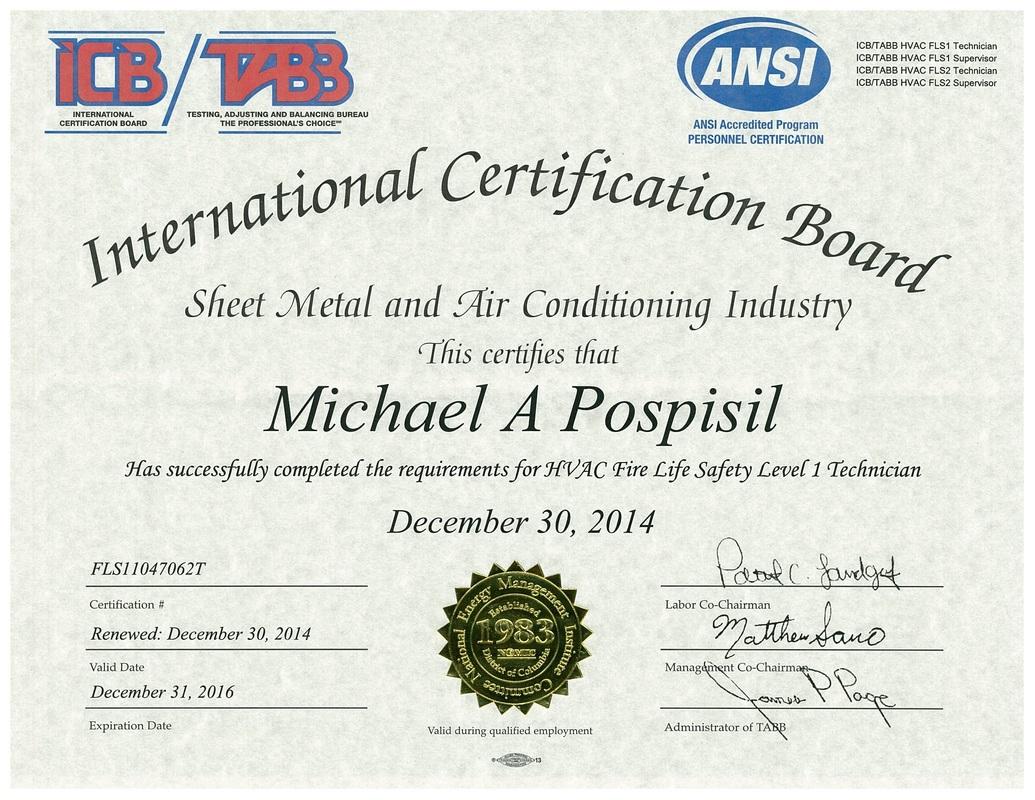 Certifications - Pospisil Enterprises, LLC